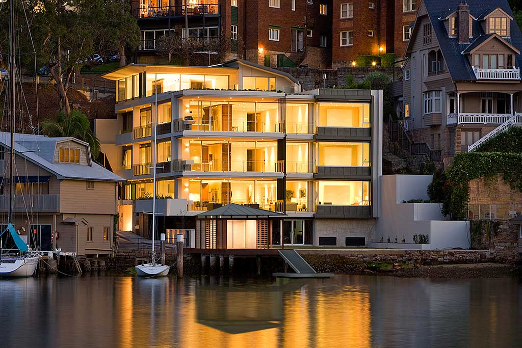 Watermarque_view from water, Mosman, waterfront, medium rise apartment, low rise apartment