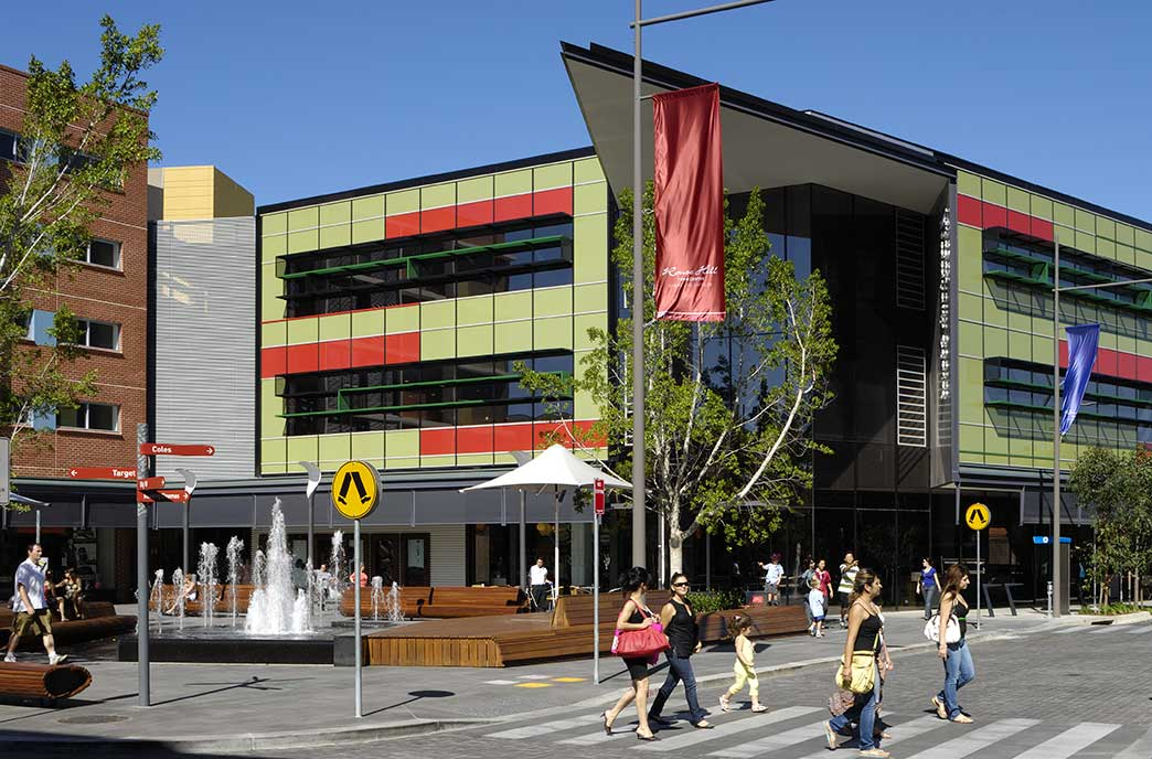 Rouse-Hill-Town-Centre, urban town centre, library,shopping centre,cafe, retail, multi residential