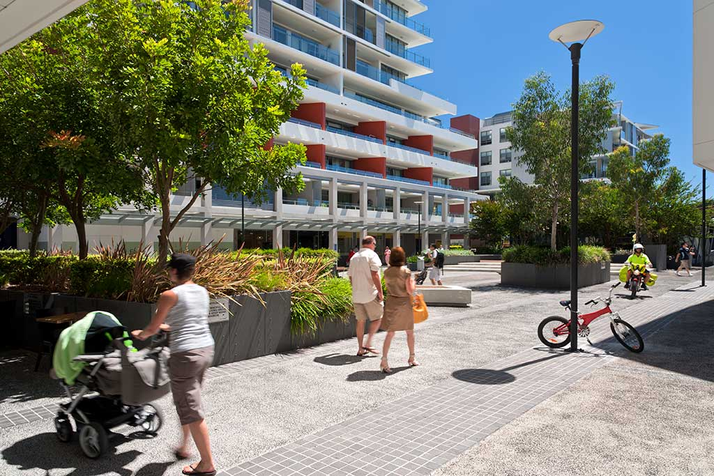Balgowlah Village retail entry from street, stockland, urban public area,multi residential