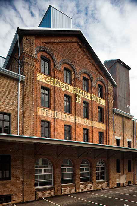 crago flour mill exterior view, heritage conversion