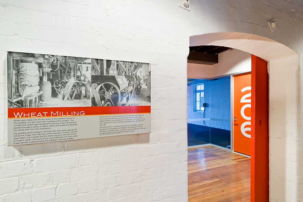 crago flour mill interior, heritage conversion, environmental signage, information signage